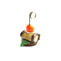 3511. Eggplant roll with vegetable filling on a rye toast