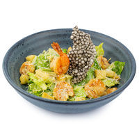 Caesar salad with tiger prawns