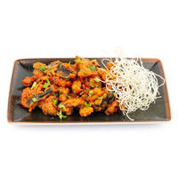Crispy pork with eggplants in fresh tomato and honey sauce