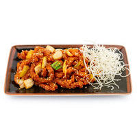Crispy pork with potatoes in sesame seeds