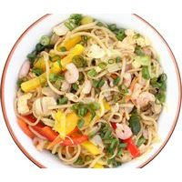 Mixed HAKKA noodles with shrimps, chicken, vegetables and egg