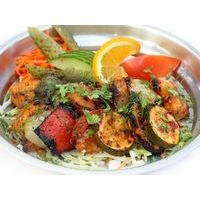 Piquant sea perch shashlik with vegetables