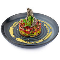 Tuna tartar with avocado salsa and crunchy lavash