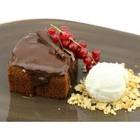 Warm chocolate cake with vanilla ice-cream